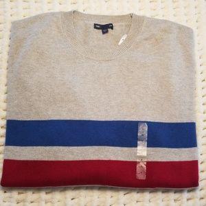 NWT Gap sz XL sweater gray red blue striped